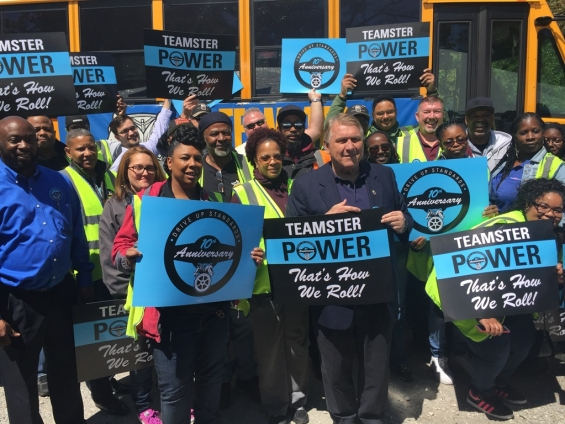 Hoffa, Teamster School Bus Workers Rally to Mark a Decade of Driving Up Industry Standards